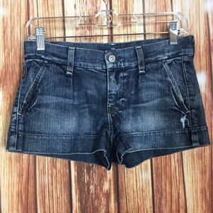 7 For All Mankind Distressed LowRise Denim Shorts